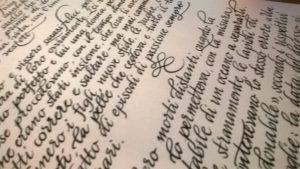 Bella calligrafia scrittura corsiva