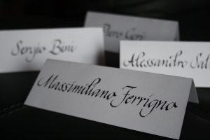 Cavalierini segnaposto calligrafia